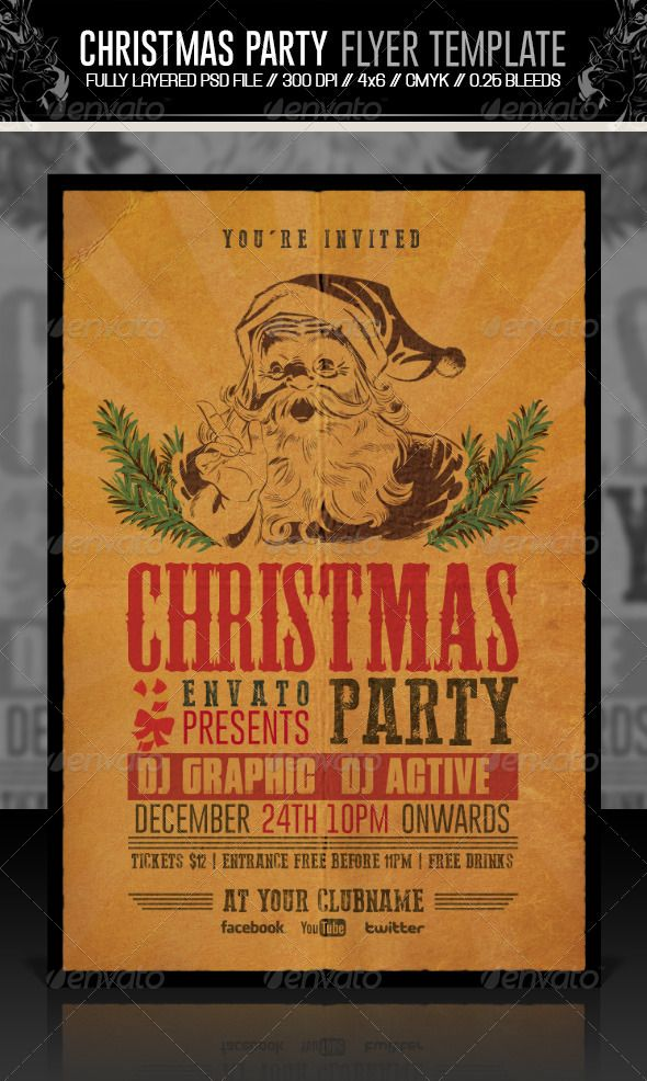 34 best Flyer Templates graphicrivernet images on Pinterest - christmas party tickets templates