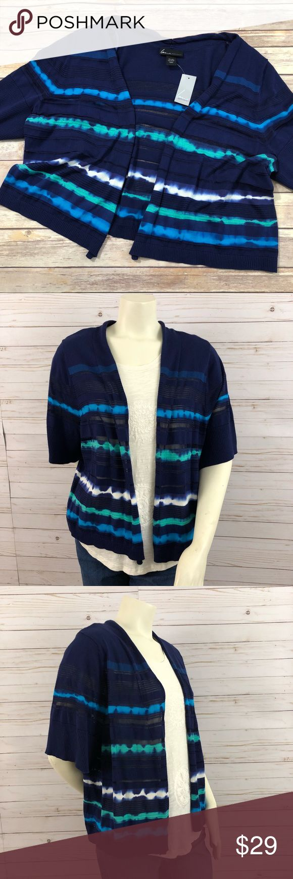 NWT Lane Bryant blue striped short sleeve cardigan NWT Lane Bryant open short sleeve cardigan. Navy Blue striped with green and white. Light material, some striped are semi sheer, you can see it on the mannequin. Size 26/28 Lane Bryant Tops