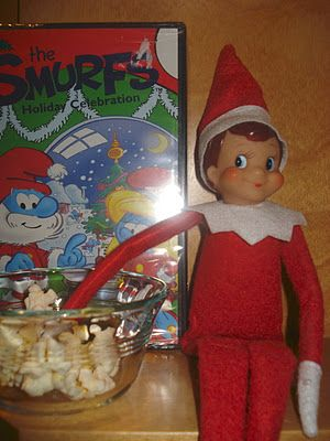 Elfie brings a Christmas movie... and helps himself to some popcorn.: East Coast, Christmas Movies, Elf On Shelf, Movie Night, Shelf Ideas, Elf Brings, Elf On The Shelf, Coast Mommy