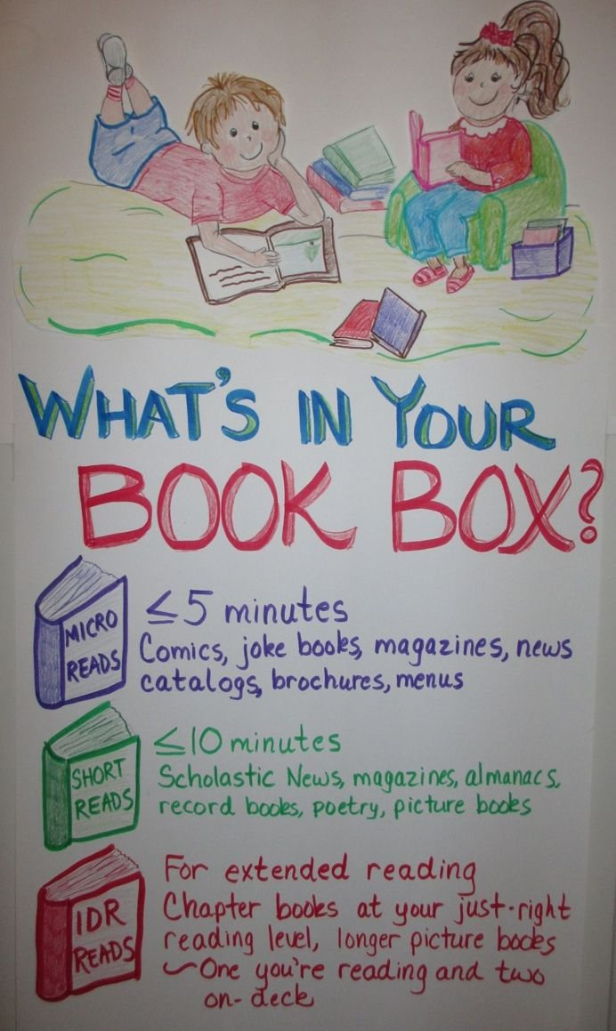 Great Anchor chart and encourages reading stamina:  micro reads, short reads, and independent.