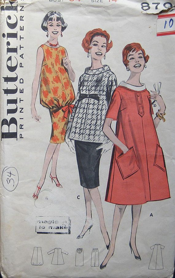 Vintage Butterick Maternity Dress Smock Pattern by TheHowlingHag, $8.95