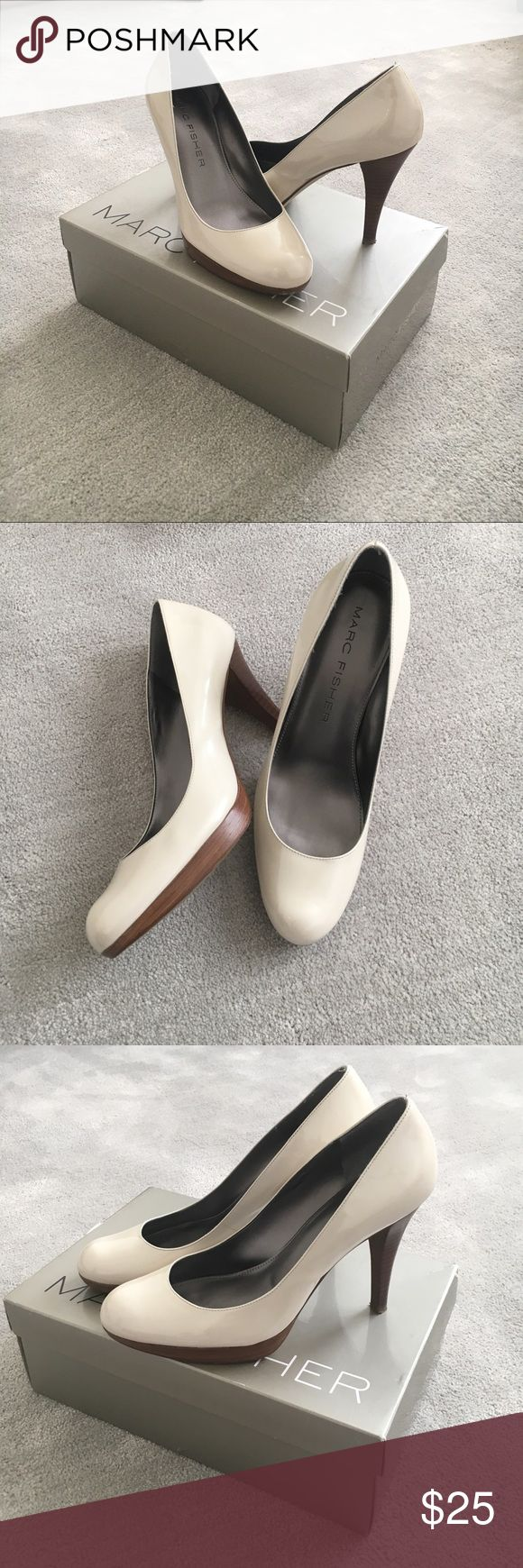 Marc Fisher classic patent cream pumps 👠 Great condition, only worn 2 times. Extremely comfortable and versatile for long events such as weddings or graduations. Goes with any outfit! Marc Fisher Shoes Heels
