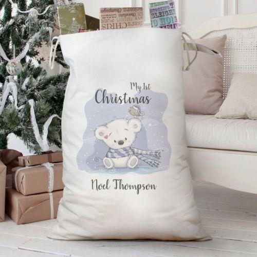 My 1st Christmas Teddy Bear Cotton Gift Sack