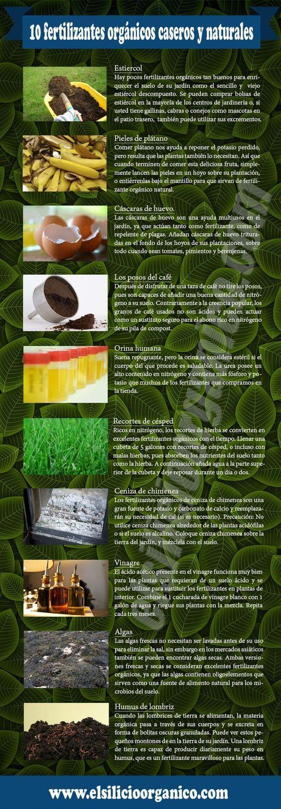 10 fertilizantes orgánicos caseros y naturales. #infografia #plantas #fertilizantes