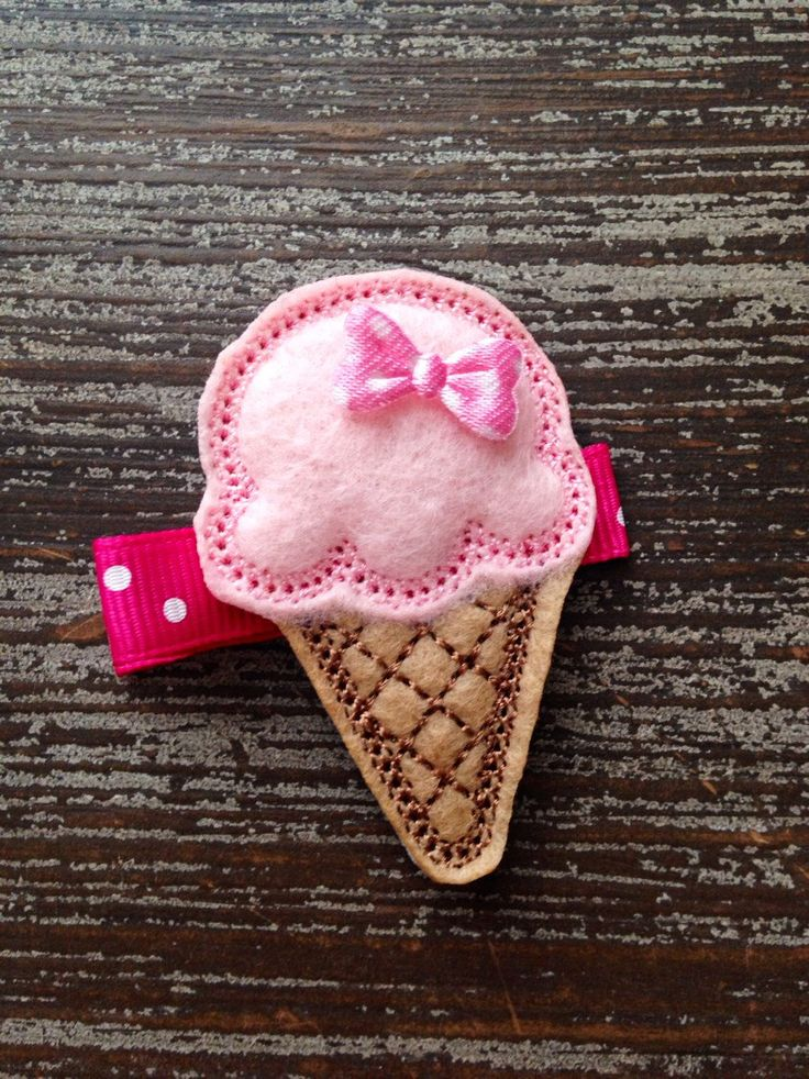 Ice Cream Hair Bow - Ice Cream Hair Clip - Birthday Hair Clip - Summer - Ice Cream Birthday - Felt Hair Clip - Birthday Bow - Party Favor by HBSouthernInspired on Etsy https://www.etsy.com/listing/226972193/ice-cream-hair-bow-ice-cream-hair-clip
