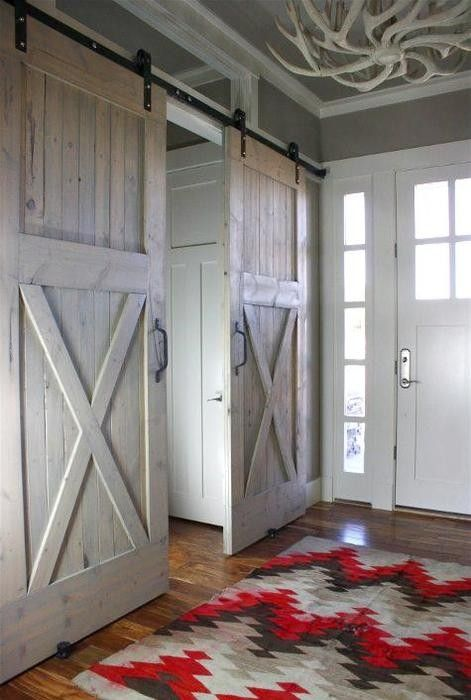 DIY barn {closet} doors~the colors in the rug would make a beautiful crocheted blanket!!
