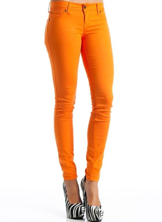 Orange skinny leg jeans