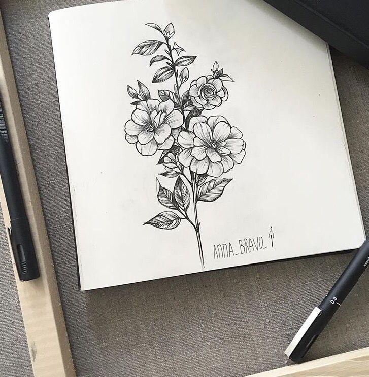 Floral tattoo by Anna Bravo