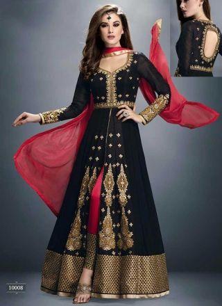 Blooming Black Red Embroidery Work Georgette Anarkali Suit