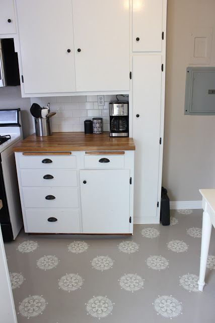 DIY: painted cabs, ikea counter, painted vinyl floor A Warm Conversation: Work with what you GOT-Painted Kitchen Floors