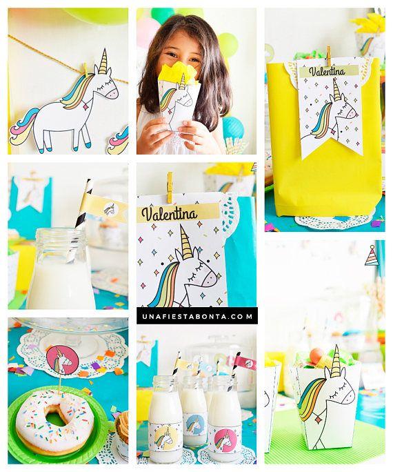 Kit de fiesta para imprimir unicornios de colores #partyideas #printable #partyp…