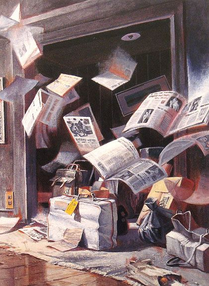 "Robert Birmelin ""Intellectual Baggage"" Acrylic on canvas, 48 in x 36 in, 1994"