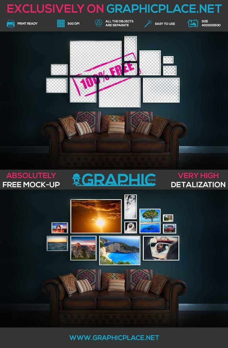 Photo Wall - Free PSD Mockup.  #wall #photo #photowall #freeMockUp #freepsd #freepng #psd #mockup #photowallmockup  DOWNLOAD FREE MOCKUP HERE: http://www.graphicplace.net/photo-wall-free-psd-mockup/  MORE FREE GRAPHIC RESOURCES: http://www.graphicplace.net/