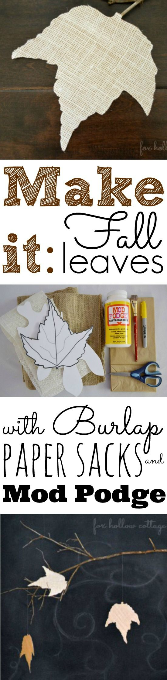 Fall Leaf Leaves Burlap and Paper Sack DIY Craft Tutorial
