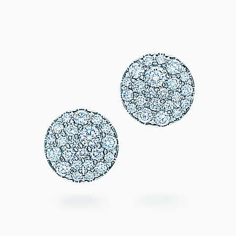 Tiffany Metro round earrings in 18k white gold with diamonds.