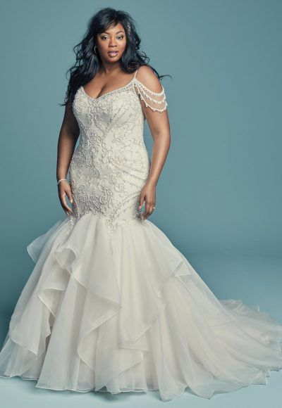 bf0e238210 Cold Shoulder Sweetheart Neckline Beaded Bodice Organza Skirt Mermaid  Wedding Dress by Maggie Sottero