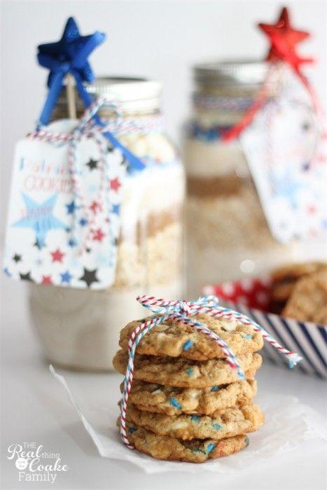 Patriotic mason jar cookies