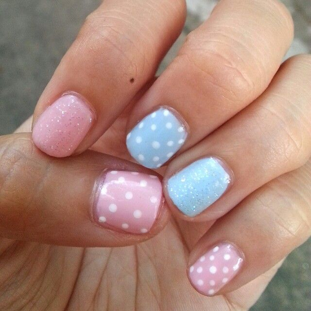 Baby pink and blue fairydusted  and dots manicure! Nailddiction indeed.