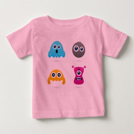 PINK t-shirt with cartoon Monsters - click/tap to personalize and buy