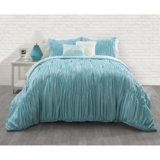Seventeen Aqua Ruched 3-piece Comforter Set - 19527993 - Overstock.com Shopping - The Best Prices on Seventeen Teen Comforter Sets