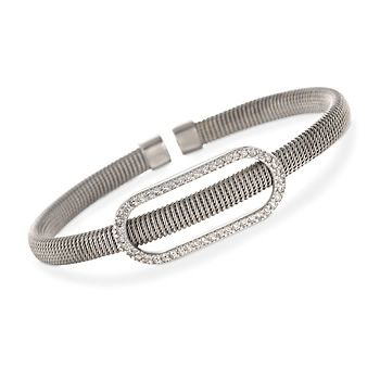 .75 ct. t.w. CZ Cabled Cuff Bracelet in Sterling Silver - $185