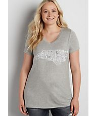 plus size heathered tee with North Carolina state graphic