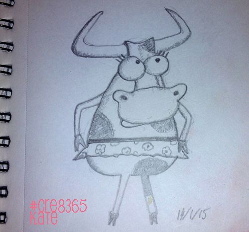 A Creative Year | Topic: day 14/Kate – Cow In a Dress #cre8365