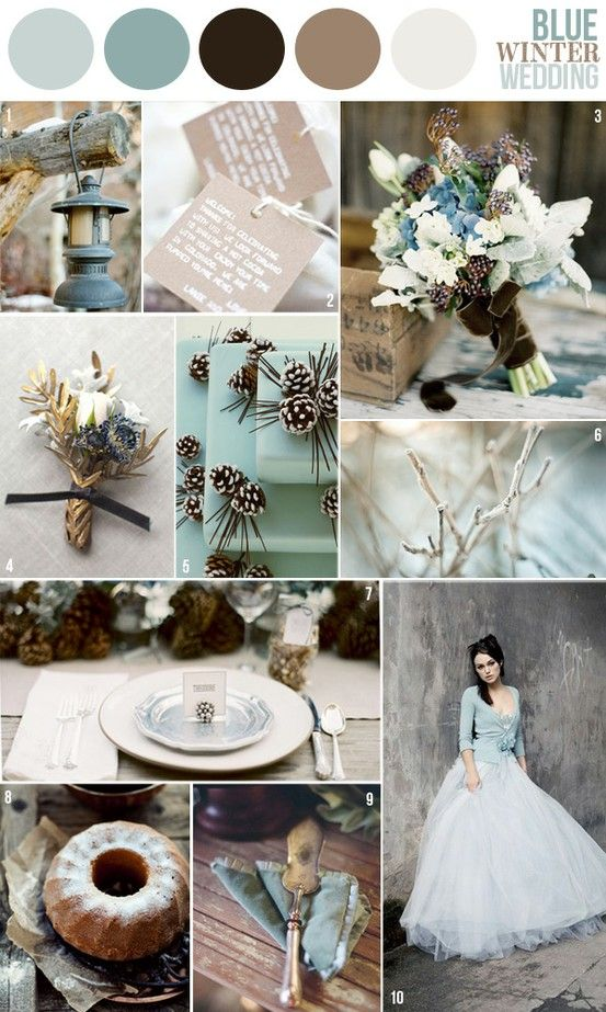 Light Blues, Dark Gray and Taupe. The soft colors are contrasted with rough textures of winter (ice, frost, pinecones etc...) LOVE!