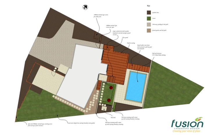 Pool & entertainment area on slope. Designed by Fusion Landscape Design.