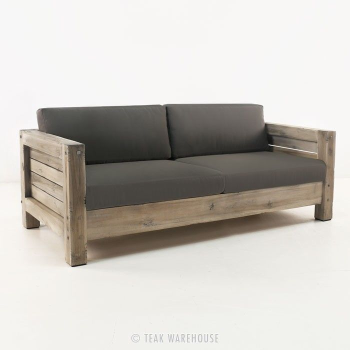 *** Lodge Distressed Teak Outdoor Sofa - Teak Deep Seating - Deep Seating Collections