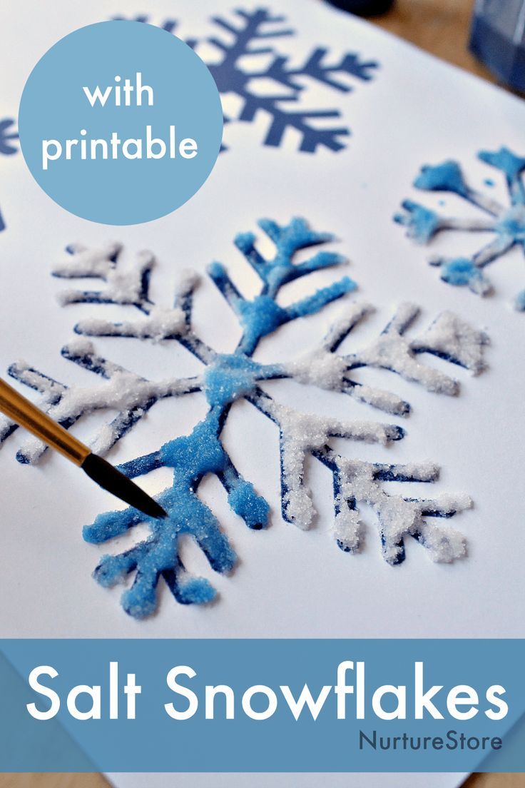 Salt, glue and watercolor painting to make snowflake art