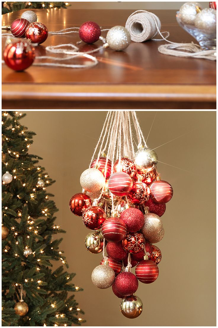 732 best christmas craftsdecorationsgift ideas images on pinterest if you know how to tie your shoe then you already know how to make this elegant christmas ornament chandelier assembly is easy i think i would also add arubaitofo Image collections