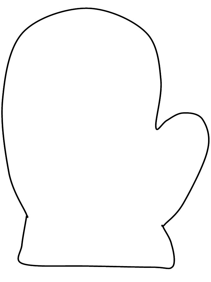 mitten coloring page - could be used as a template for applique