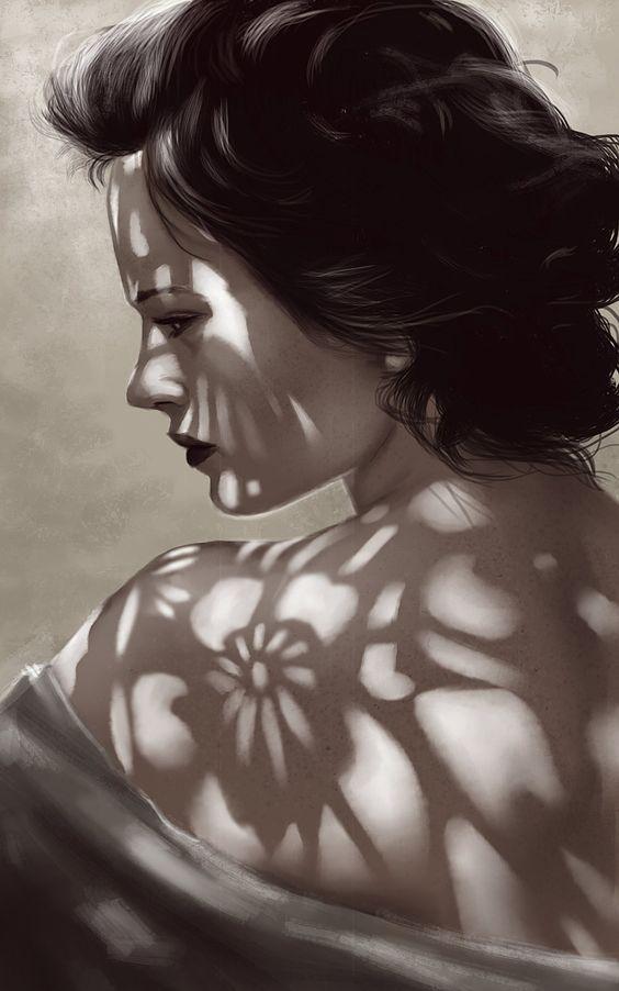 Rodrigo A. Branco, digital light shading painting exercise 031114 on ArtStation {figurative art beautiful female head shoulder back woman face profile painting #loveart} rbranco.artstation.com