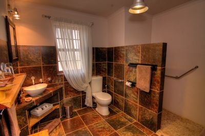 Karoo View - 2 Cottages have lovely en-suite bathrooms with large walk in shower and wall heater - including grab rails. Ideal for those in wheelchairs.
