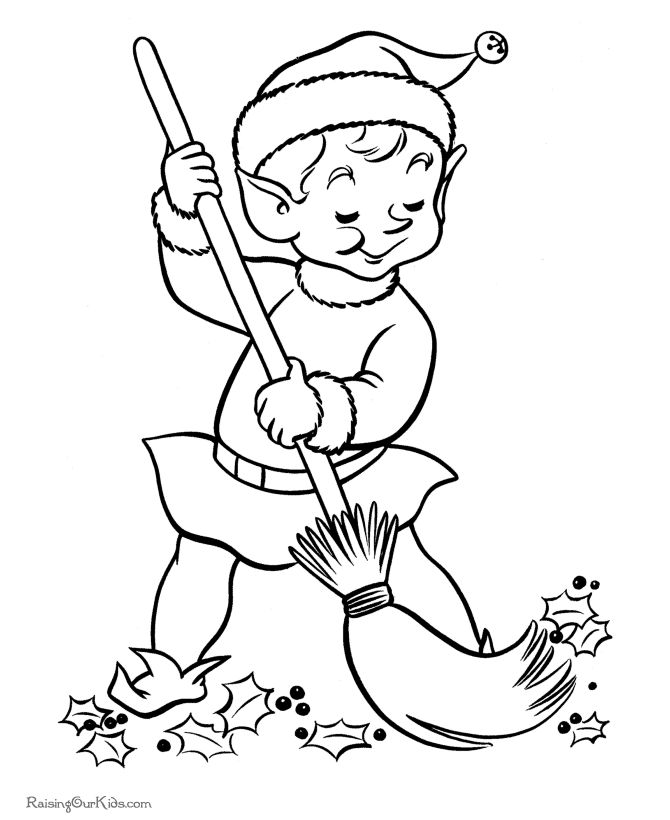 Santa's Elves - free printable coloring pages!