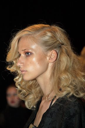 Texture and '70s glam created by Ric Pipino for Alterna Haircare at the Georgine spring/summer 2015 line at Mercedes-Benz Fashion Week.