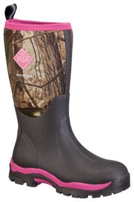 The Original Muck Boot Company Woody PK Hunting Boots for Ladies - Bark/Realtree APG/Hot Pink - 10 M #MuckBoots