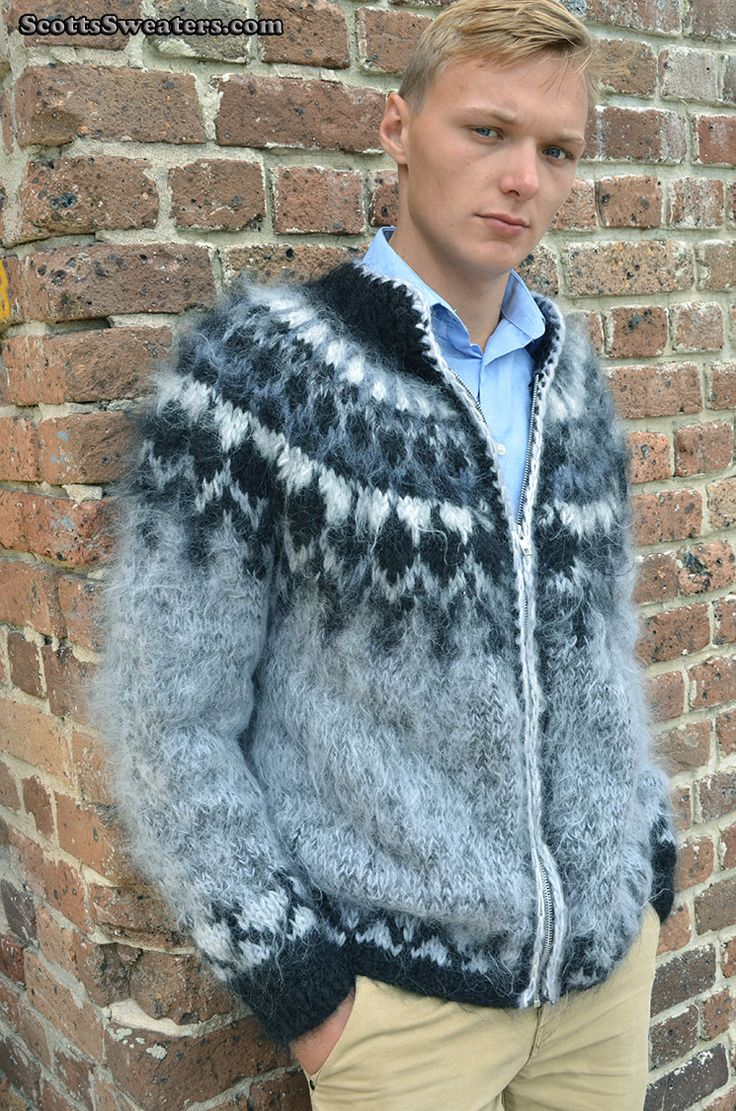 614-002 Men's Grey Cardigan Mohair Sweater With Black & White Icelandic Yoke posted to my site...