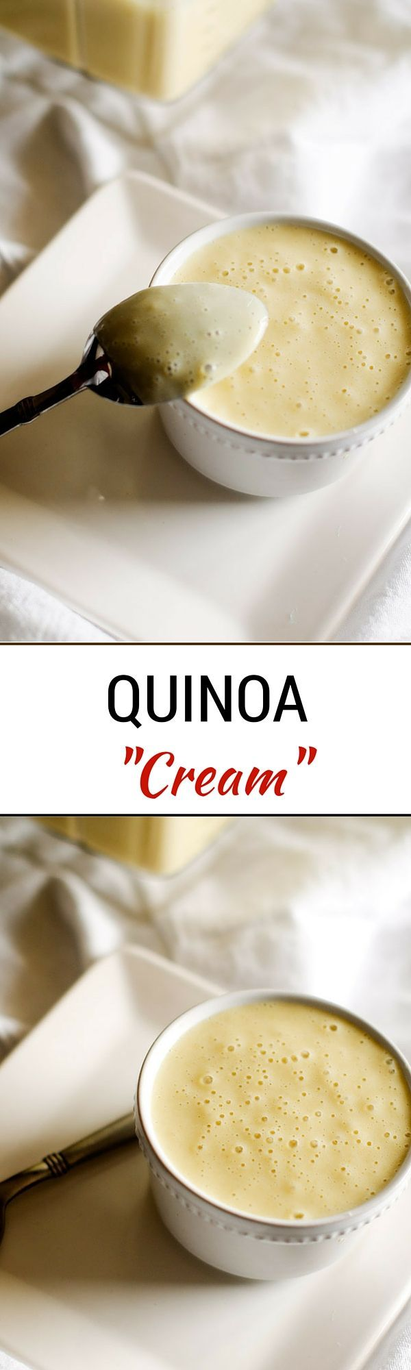 Quinoa Cream - This healthier alternative to heavy cream is naturally gluten free and easily made vegan. - WendyPolisi.com  ½ cup quinoa, rinsed 2 cups vegetable broth 1 cup milk of choice (unsweetened - I used almond)