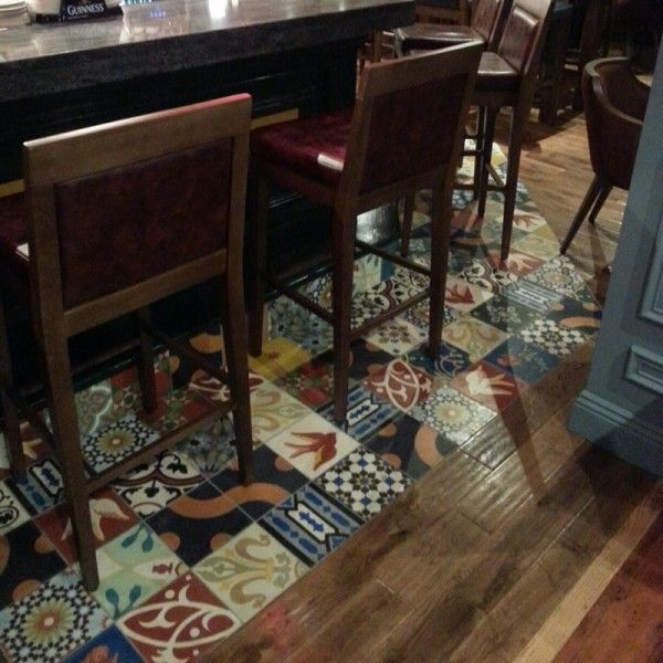 Patterned Moroccan Encaustic Tiles at the bar area. This photo was taken at The Cleaboy Pub in Waterford, Ireland. The tiles used are one of our bestsellers.