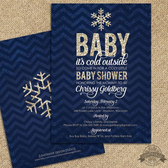 Baby it's Cold Outside Shower Invitation -  Baby Shower Invitation-  Navy GOLD Glitter - FREE Backside! sparkle, glitzy, shimmer invite, chevron, modern classy winter shower theme. Printable.  - by Lemonade Design Studio