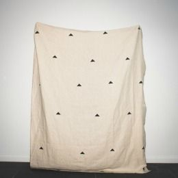 Caroline Z Hurley Hannah natural linen throw with black triangle design