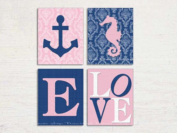 Damask Nautical Nursery, Damask Nursery Wall Art, Girl Nautical Nursery Art, Seahorse, Anchor, Love Nursery Print, Personalized, Set of 4 on Etsy, $40.00