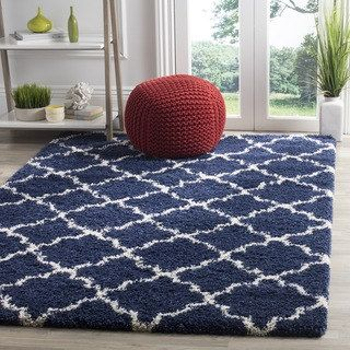 Safavieh Hudson Navy / Ivory Shag Rug (8' x 10') | Overstock.com Shopping - The Best Deals on 7x9 - 10x14 Rugs