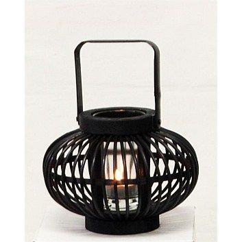 Tealight & Candle Holders - Briscoes - Bamboo Belly Lantern 18x14cm Black