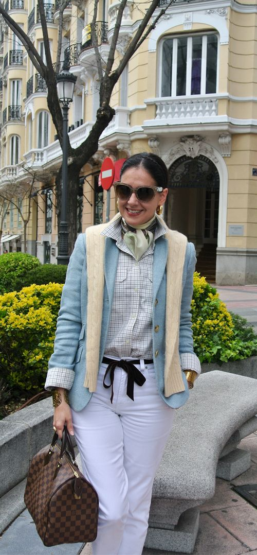 April 16, 2013 http://www.akeytothearmoire.com/post/48117742350/baby-blues #baby blue #pale blue #pastel #yellow #white #white jeans #velvet ribbon #bow belt #silk scarf #crocodile ballerina flats #Madrid #Spain #pierced cuff #braid #headband #chic #preppy #classic #elegant #casual #feminine #work appropriate #professional #plaid #Prada #Ralph Lauren #Louis Vuitton #Speedy 30 #Echo #Gravati