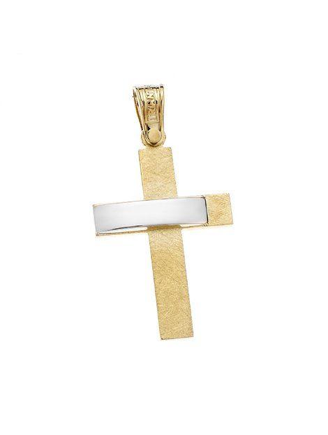 Σταυρός Τριάντος Χρυσός 14Κ Δίχρωμος Αναφορά 021300 Ένας βαπτιστικός σταυρός του οίκου Τριάντος , για αγόρι ή για άνδρα κατασκευασμένος από Χρυσό 14Κ σε κίτρινο και λευκό χρώμα ο οποίος μπορεί να συνδυαστεί με αλυσίδα Χρυσή 14Κ ή με δερμάτινο κορδονάκι στο χρώμα της αρεσκείας σας.