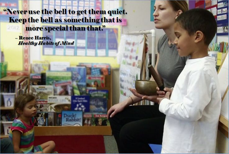 When introducing mindfulness to a class, we recommend starting with a bell or some kind of sound that indicates that you are making intentional space to learn about and practice mindfulness. This way they associate the sound of the bell as a time to practice mindfulness.   Watch the full clip from Healthy Habits of Mind about mindfulness teaching how to cultivate sustained attention and awareness: https://vimeo.com/76328756