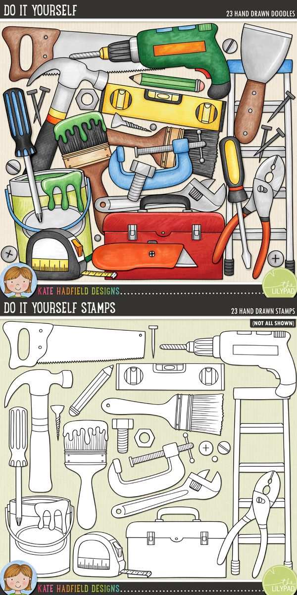 Do It Yourself was created for all those DIYers and budding Mr-Fix-Its out there and is perfect for scrapping those DIY adventures and achievements (or even the odd home improvement mishap!)! Do It Yourself doodles and stamps from Kate Hadfield Designs